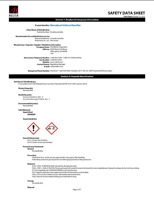 Lithium Densifier SDS